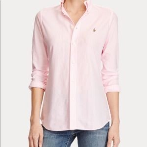 Women's Ralph Lauren pink striped button up